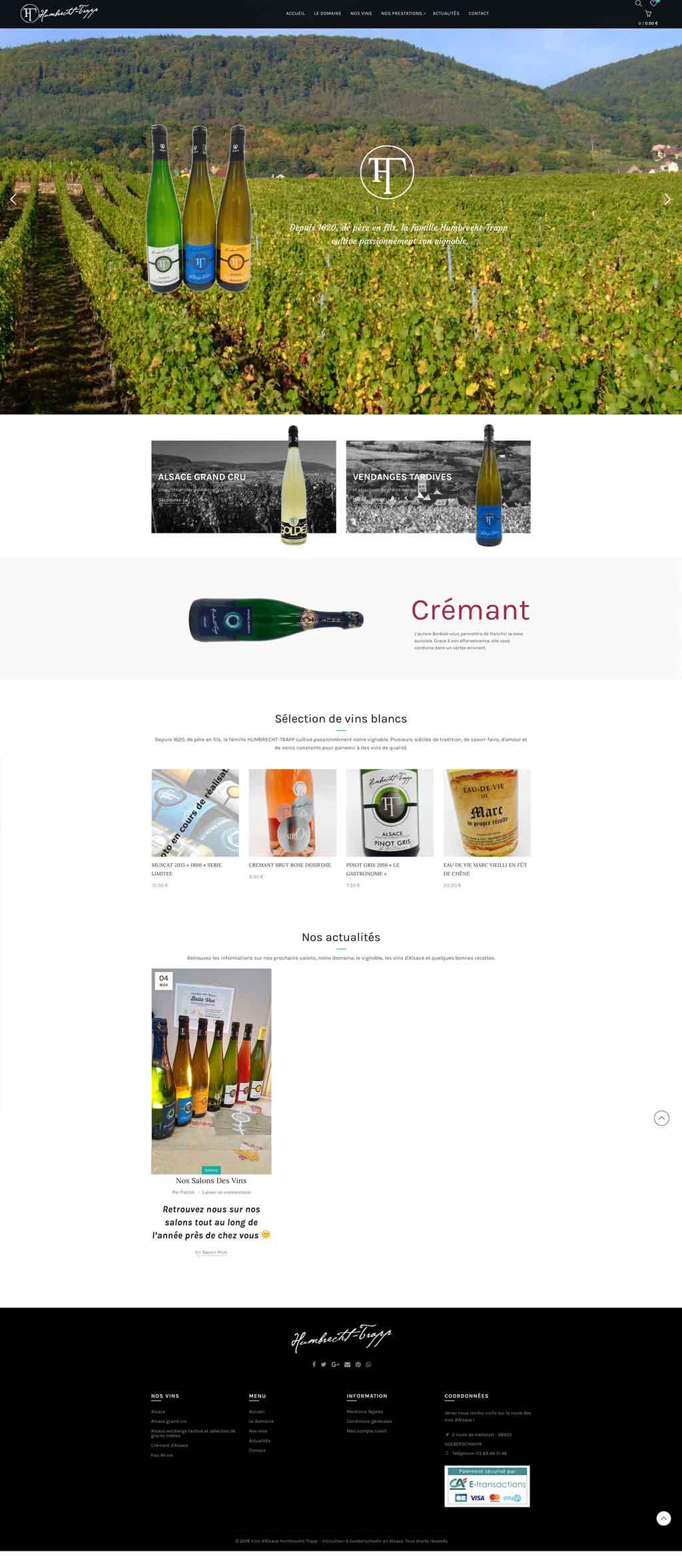 Création de site internet e-commerce pour viticulteur