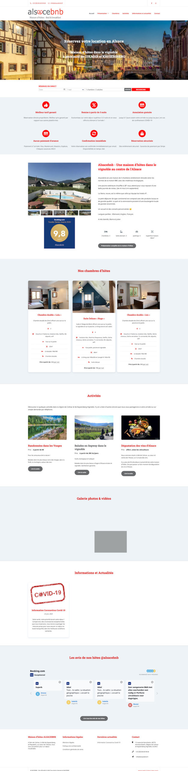 Site internet chambres d'hôtes Alsacebnb
