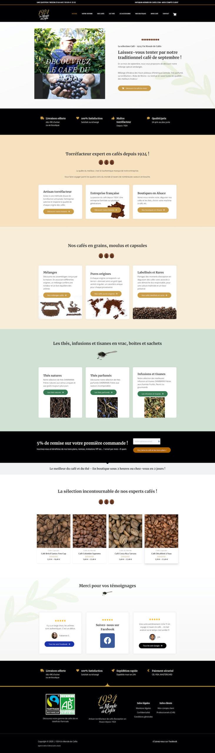 Site ecommerce d'Un Monde de Cafés